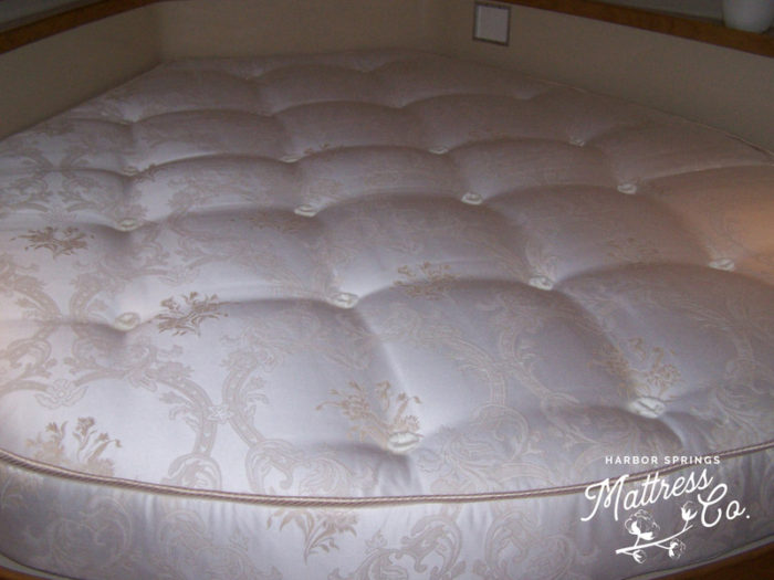 image of a corner boat mattress handcrafted with natural latex and wool